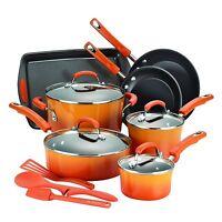 Rachel Ray 14 Piece Non Stick Cookware Set Kitchenware Pots Pans Enamel Orange