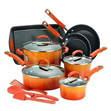14 Piece Non Stick Cookware Set Kitchen Pots Pans Rachel Ray Hard Enamel Orange