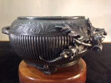 Antique Adelphi Footed Pewter silver plate Metal Bowl Hand Made Signed #01517