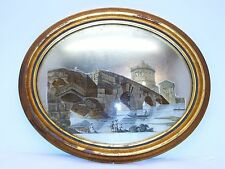 Antique Decoupage Oval Convex glass Picture. French style Sungott Art Studios