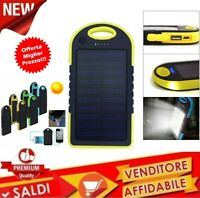 CARICABATTERIA CELLULARE POWER BANK PANNELLO SOLARE CARICA BATTERIE LUCE TORCIA