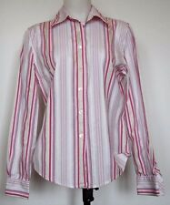 Faconnable Pink/White/Green Striped Cotton Sateen Button-Front L/S Shirt M