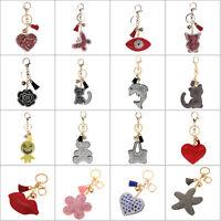 Leather Crystal Rhinestone Tassel Bag Purse Handbag Key Phone Chain Keyring Lot