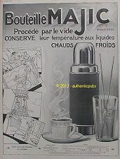 PUBLICITE PAZ & SILVA BOUTEILLE MAJIC THERMOS BD SIGNE TOURANE DE 1909 FRENCH AD
