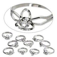 Silver Rhinestone Ring Mix Butterfly Flower Heart Jewelry Lot of 10