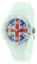 Ladies/ Girls/ Youth / Teen / Fashion Union Jack Watch White Silicone/Rubber12a