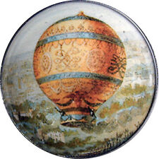Crystal Dome Button Hot Air Balloon flying Over Countryside HABO8 -1  & 3/8 inch