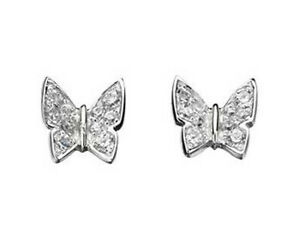 Essentials NEW! Sterling Silver Pave Cubic Zirconia Butterfly Stud Earrings