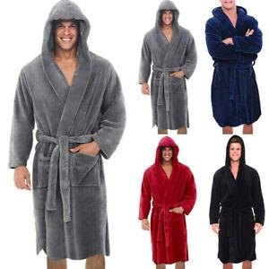 Mens Soft Cozy Luxury Hoody Fleece Dressing Gown Bathrobe Robe UK Sizes L - 5XL