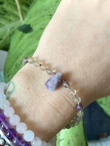 Handknotted Fluorite Bead Amethyst Natural Crystal Silk Bracelet Healing Energy