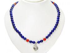 Sehr schöne Lapispazuli-Karneol Halskette in Kugelform mit Herz-Anhänger
