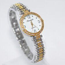 Ladies Fashion Gold & Silver Quartz White Dial Rhinestone Crystal Wrist Watch.