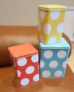 CATH KIDSTON set of 3 Storage boxes Tins please read shabby chic spotty polkadot