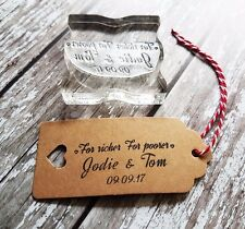 Personalised Wedding Favours stamp for richer for poorer, custom Wedding stamp