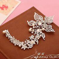 Crystal pearl bridal hair comb clip slide vine flower wedding accessories