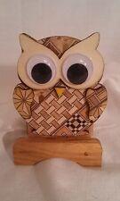 Japanese Wooden Owl Toothpick Holder With A Yosegi Ziaku Koyosegi Pattern