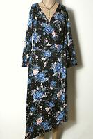 amisu Kleid Gr. 38 schwarz asymmetrisch Blusen Wickel Kleid mit blau-rosa Blumen