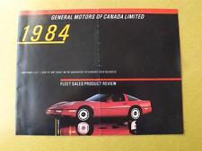 CORVETTE FLEET SALES PRODUCT REVIEW BROCHURE GM GENERAL MOTORS CANADA 1984
