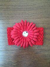 Daisy Flower Clip Crochet Stretch Headband Baby Girl