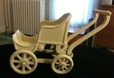 3 Small Doll Baby Carriages 2 Antique Metal Tan 1 Vintage Wood & Metal Blue