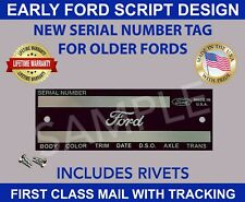 Ford Data Tag Car Truck Pickup Vintage Ford Script Design Made In Usa Fits 1939 Ford