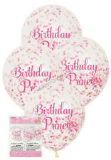 6 x Birthday Princess Pink Confetti Clear Party Balloons Decoration 30cm Helium