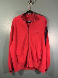 Polo Ralph Lauren Full Zip Track Collared Jacket Men's Size XL Red & Black