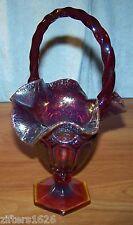 Fenton Red Carnival Glass Basket Gorgeous Mint