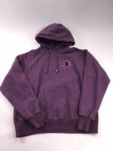 Champion Garment Dyed Hoodie Purple Large Big C Sweatshirt Overdyed 90s Style