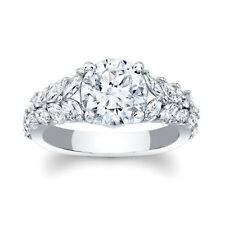 1.44 Ct Round Cut Real Diamond Engagement Ring 14K Solid White Gold Size 4 5.5 6
