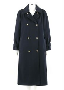 Vtg CELINE c.1980's Navy Blue Classic Double Breasted Bal Collar Cashmere Coat