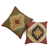 "Set of 2 Combo Pillow Cover Decorative Jute Wool Cushion Cover 18x18"" Sofa Sham"