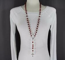 "Dark Red faux jade look bead beaded rosary silver cross 32"" long necklace"