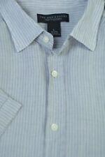 Bloomingdales Men's Stone Gray Stripe Pure Linen Casual Shirt L Large