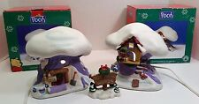 Set of 2 Winnie The Pooh & Tigger Christmas Village Lighted Porcelain Houses