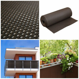 Artificial Rattan Weave Privacy Screening Balcony Fence Garden 1m x 1m Brown