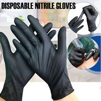 Strong Nitrile Gloves Latex Powder Free Catering Food Grade Black 100xGloves Box