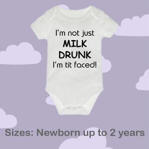 Baby Vest / Bodysuit - milk drunk funny gift birthday christmas present