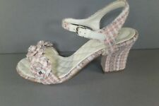 8846e6c2dd8 CHANEL 38.5 Sandals Pink Cotton Tweed Camellia Strap CC Stacked HEELS Shoes