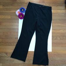 "Express Women's Pants Sz L Short Black Stretch Studded Seam Slit Hem 29"" Inseam"