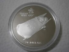 1988 Calgary Olympics 20.00 Dollar  Silver Proof Coin (Bobsled)