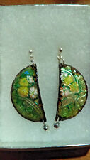 Green and Copper Enameled earrings , with  Flowers on sterling earwire