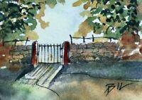 ACEO ATC original art miniature painting ' Closed Gate ' by Bill Lupton