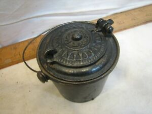 Nice Antique Miniature Cast Iron THE HOME Glue Pot w/Good Luck Swastika Melting