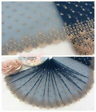 """8""""*1Y Embroidered Tulle Lace Trim~Deep Blue+Gold Beige~Gorgeous Impression~"""