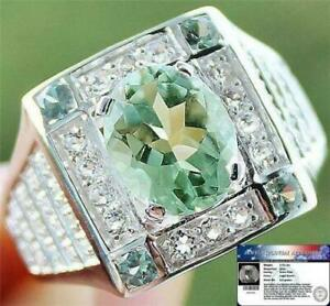 MEN'S RING 3.70 Cts Green Amethyst, Sapphire & W.Topaz 925 Sterling Silver S10