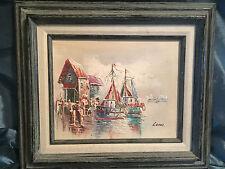 Vintage Original Oil Painting Impressionism Fishing Village Boats Seascape
