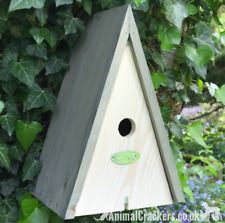 Wood bird house nest box triangular wigwam Blue Tit & other small garden birds