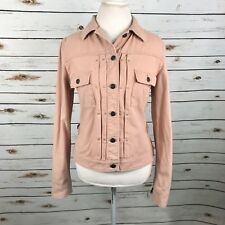 Burberry London Jean Jacket US Size 10 Womens Pink Denim Nova Check Trim Italy