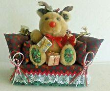 Handcrafted Doorstop-Rudolph Reindeer Sitting On Couch